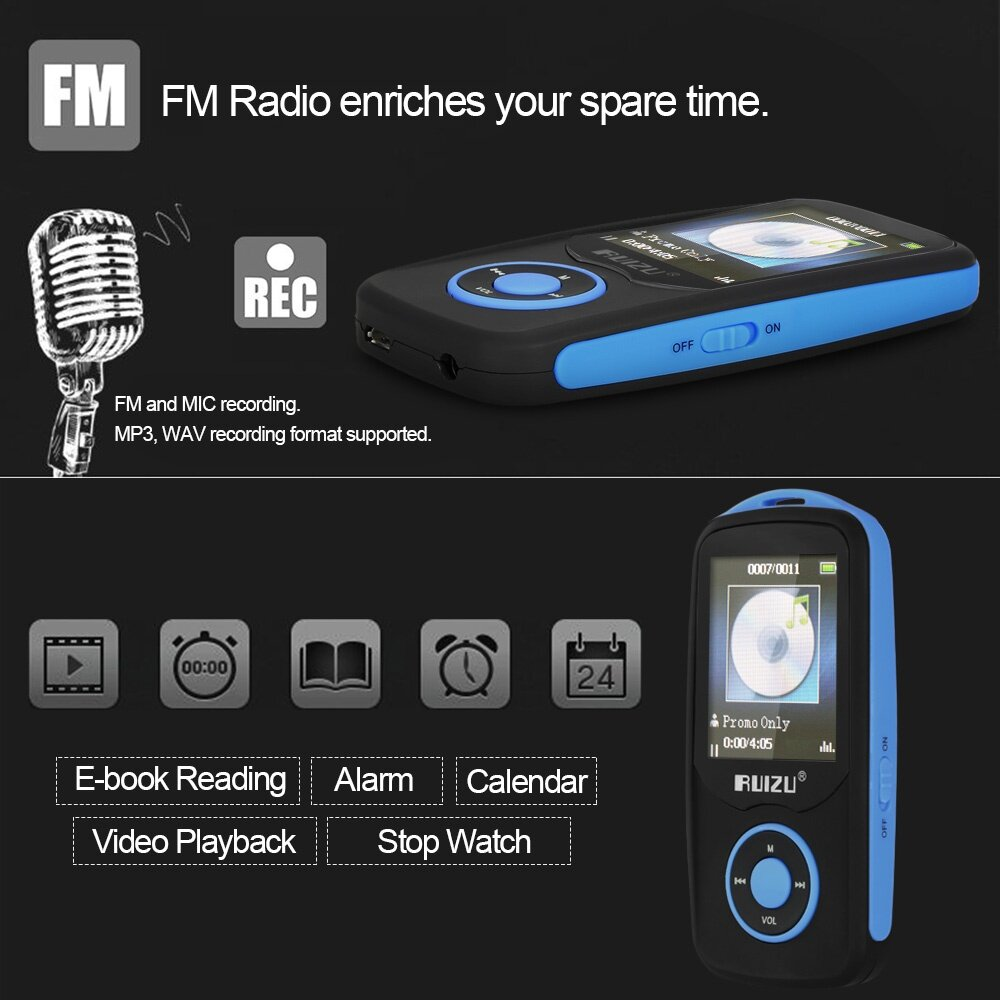 DISKAUN SEKARANG! RUIZU X06 4GB MP3 / MP4 Player Lossless