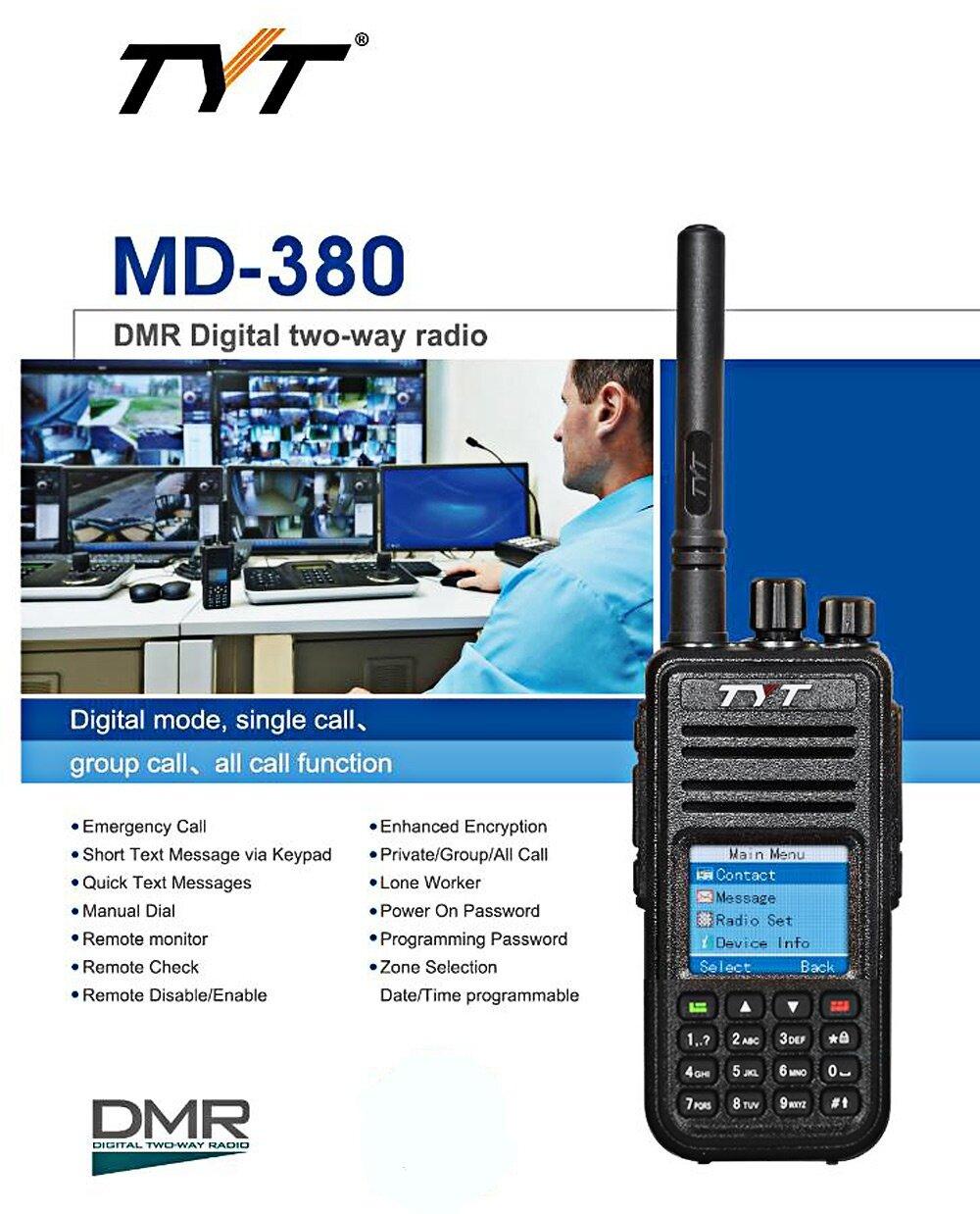 TYT TYTERA MD - 380 DMR PORTABLE WALKIE TALKIE DIGITAL RADIO UHF 400 -  480MHZ WITH COLORFUL LCD DISPLAY (BLACK), Black (EU PLUG)