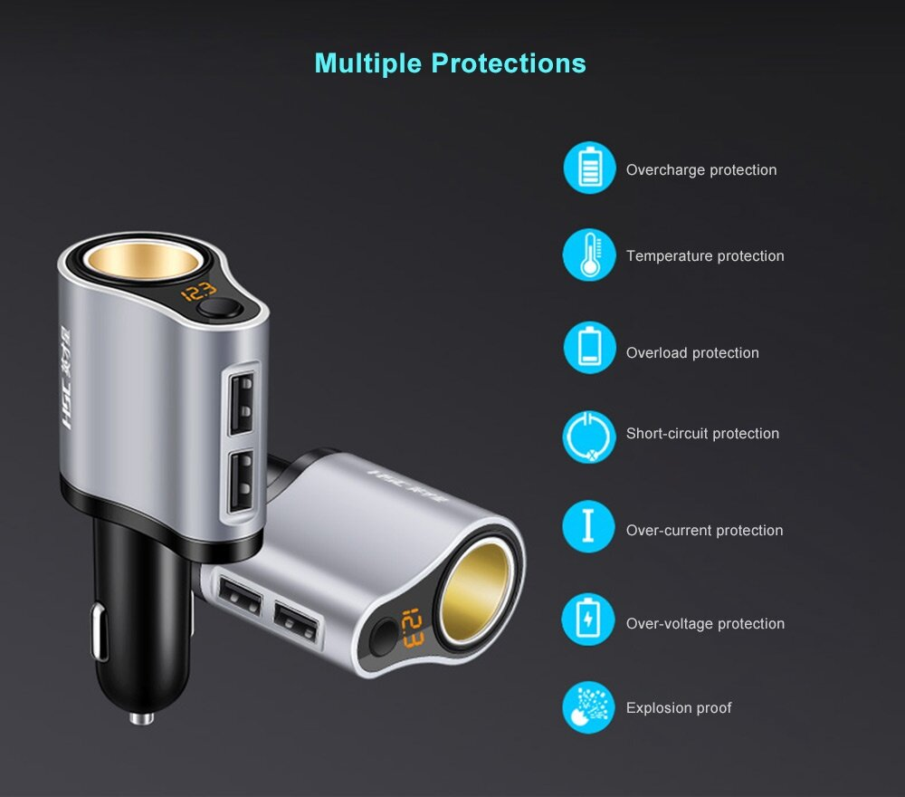 HSC 119A 3 in 1 Car Charger with Cigarette Lighter Socket Dual USB Ports 3.1A High Current