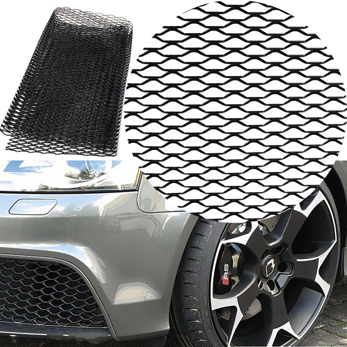 Universal aluminum car vehicle 40 x13 black body grille net mesh grill secti - Grille barbecue 70 x 40 ...
