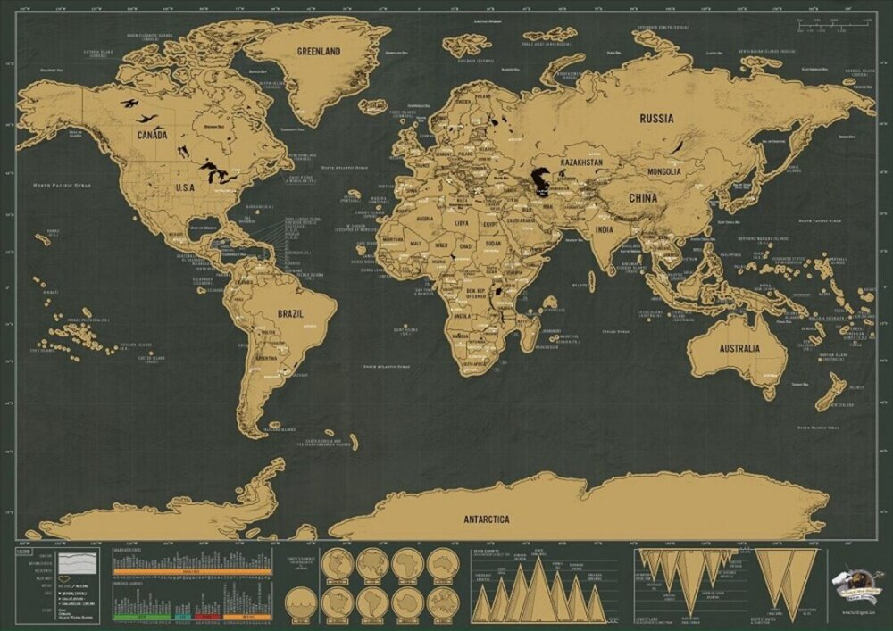 88x52cm deluxe travel edition scratch world map poster black gold scratch map is a large high guality wall map which features gold top foil layerfascinating infographics at bottom of map colourfully showing facts and gumiabroncs Images