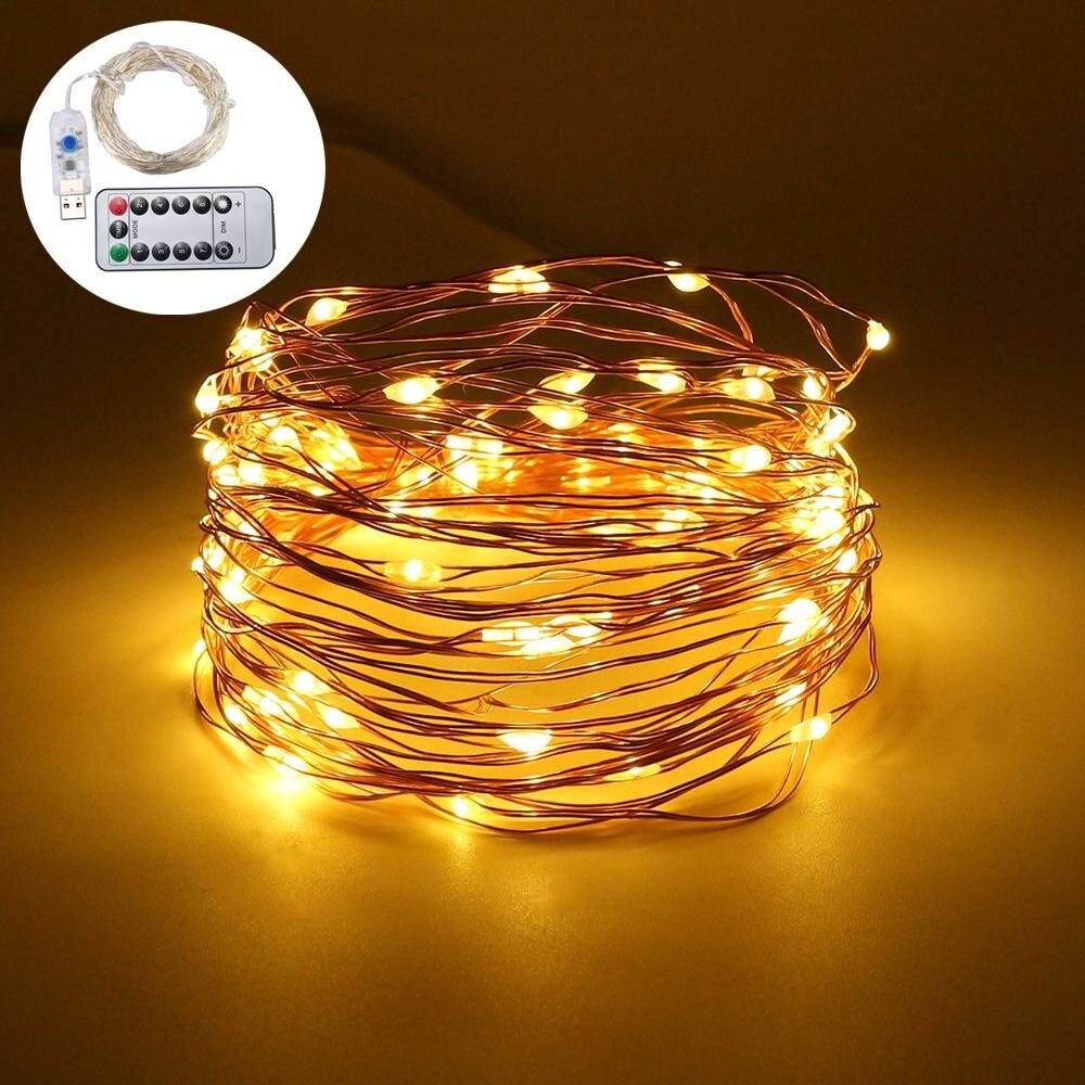 Leegoal 10m 100 led fairy lights usb plug in with remote for Warm cheap places to live