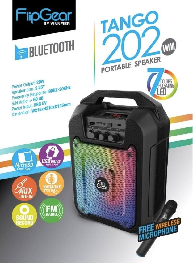 Vinnfier Flip Gear Tango 202 Portable Speaker with Voice