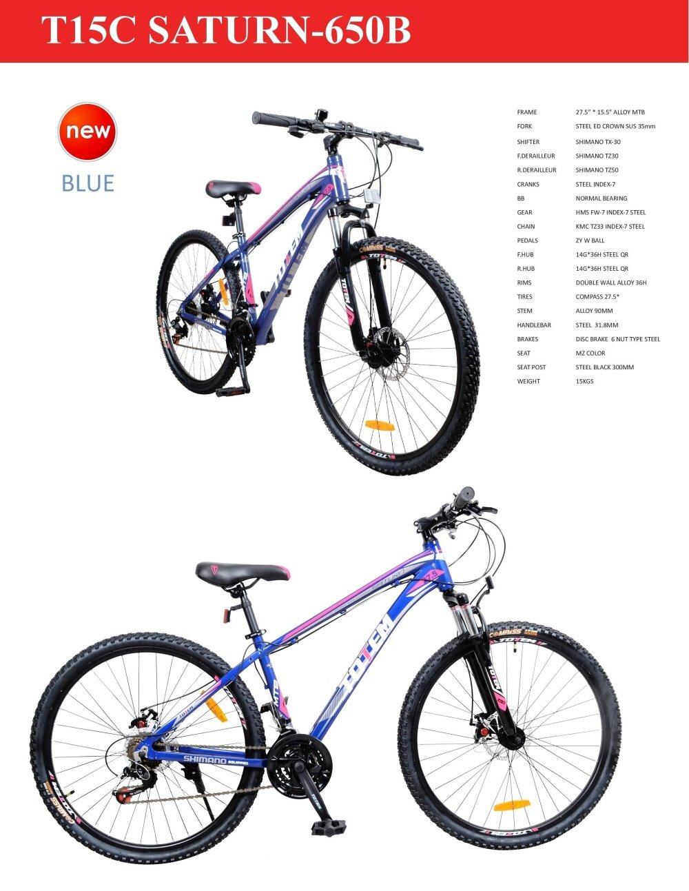 totem 27 5 t15c saturn alloy mountain bike blue with shimano equipped 11street malaysia bikes. Black Bedroom Furniture Sets. Home Design Ideas