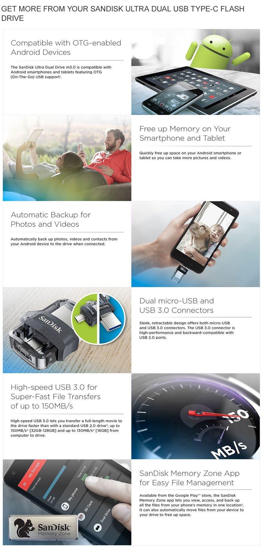 Sandisk Ultra Dual Drive 16gb M30 Otg Usb Flash For Android Flashdisk 16 Gb 30 256gb