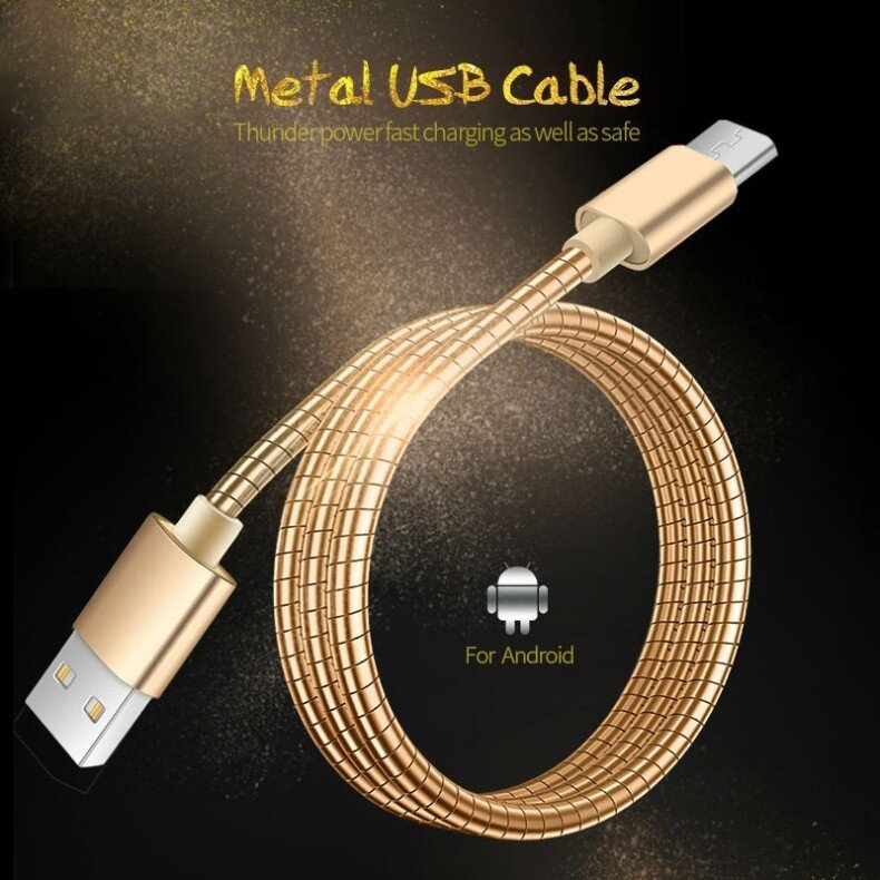 Metal Spring USB Cable For iPhone5 6 7 for Samsung S7 note 7 Mobile Phone mirco Universal Charger 1M Fast Charging Cable