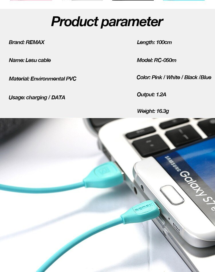 REMAX LESU Micro USB data Cable for Android mobile Phone