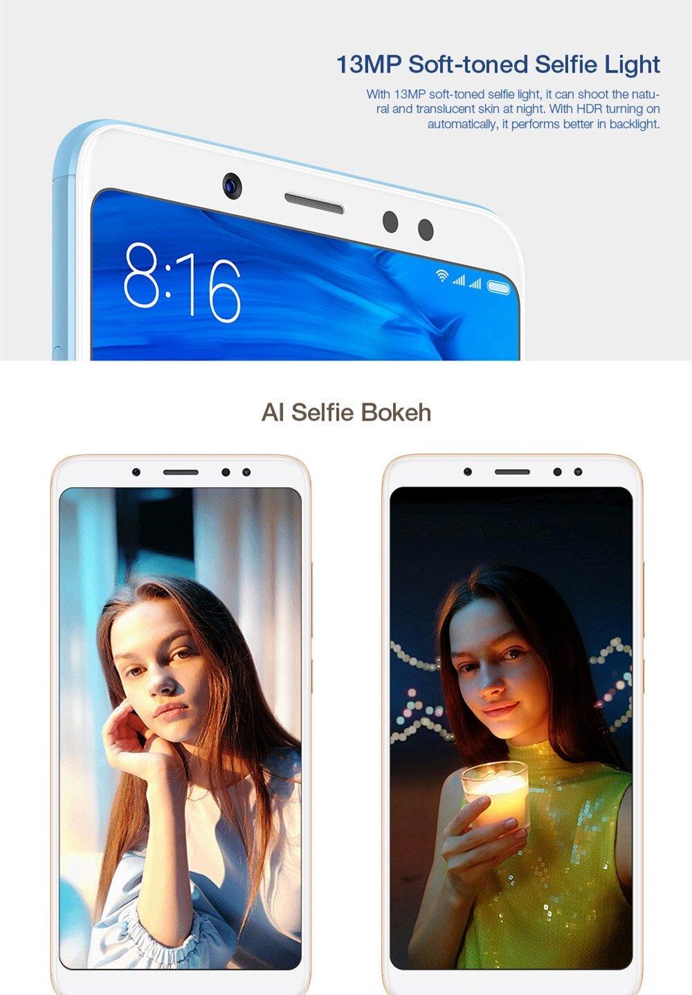 Xiaomi Redmi Note 5 5.99 Inch Smartphone Snapdragon 636 Octa Core 4GB 64GB 5.0MP+12MP Dual Rear Cameras MIUI 9 OS 18:9 Full Screen - Gold