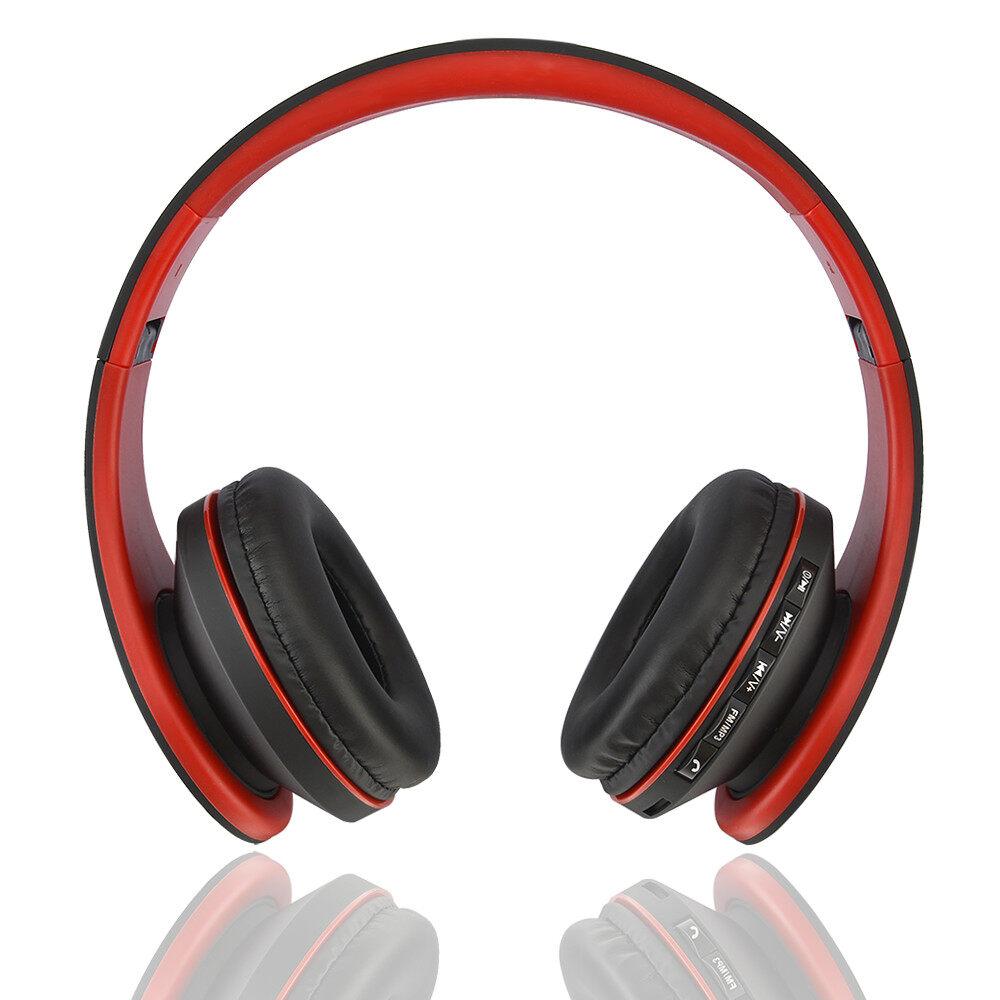 4ebfb2d5eba (4 IN 1 FUNCTION) WJS Foldable Stereo Wireless Bluetooth Headphone Foldable  EDR Earphone Headset (Red+Black)