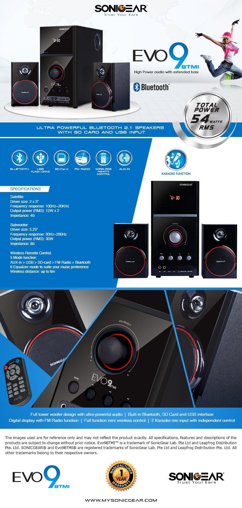 sonicgear evo 9 btmi bluetooth multimedia speaker with bluetooth fm radio sd slot usb slot. Black Bedroom Furniture Sets. Home Design Ideas