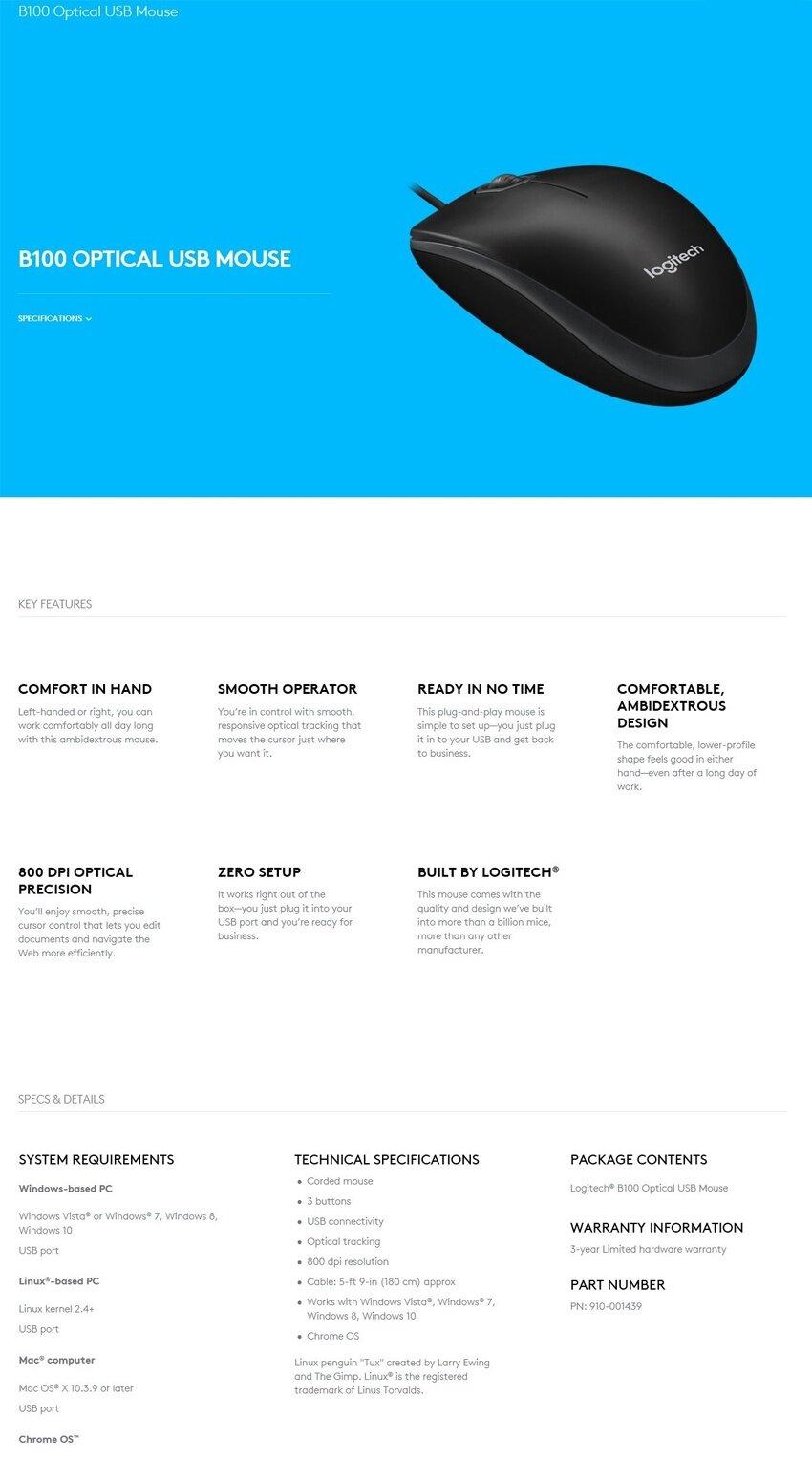 Logitech B100 USB Mouse – BMSTAR IT Online Store