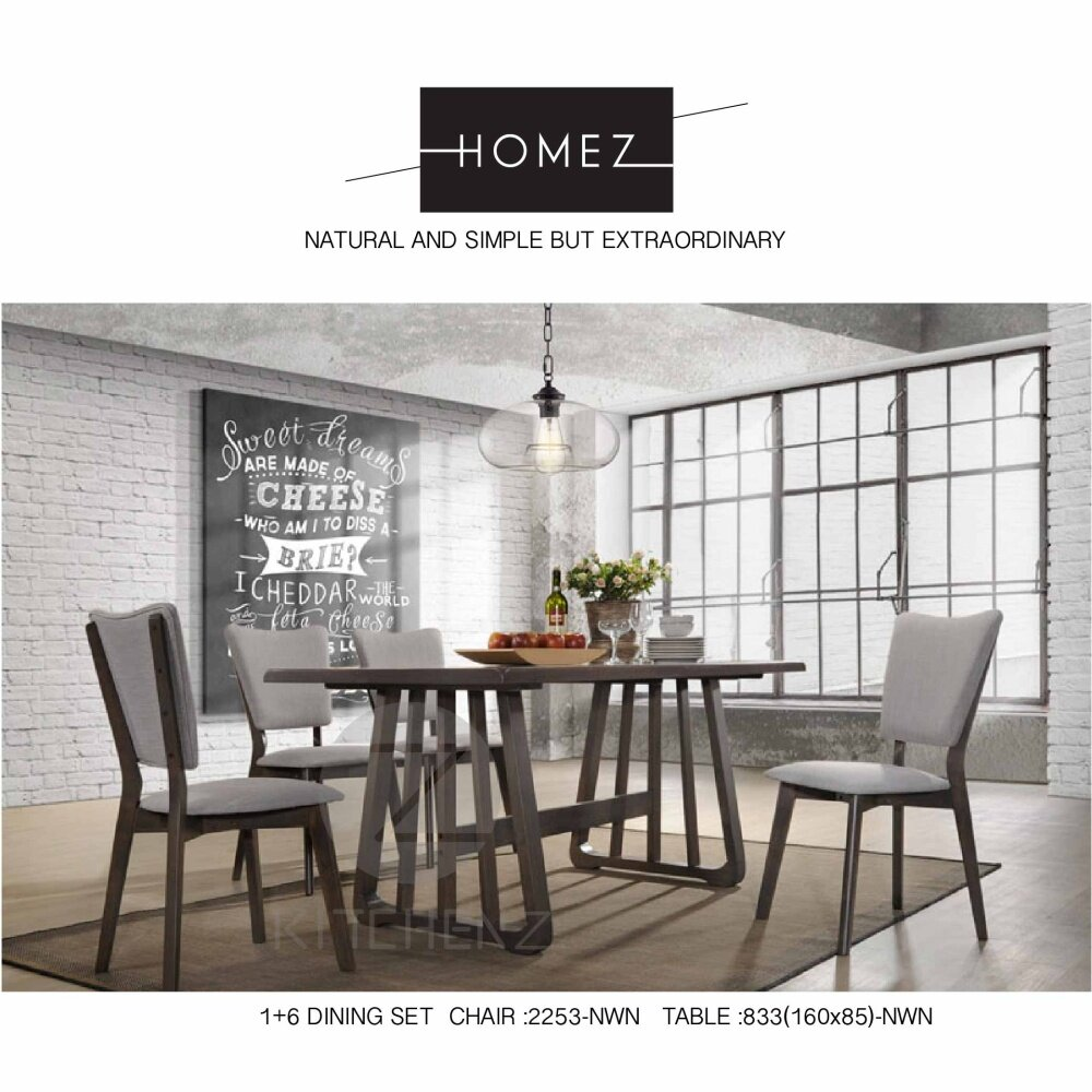 nordic style furniture. Product Details Of Homez Nordic Style Solid Wood Dining Table SSH833+2253 With 6 Chairs - Grey Furniture Y