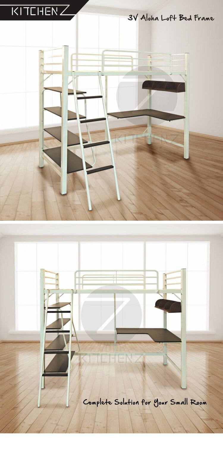 Product Details Of 3V Aloha Loft Bed Frame C/w Study Table U0026 Book Shelves    Single