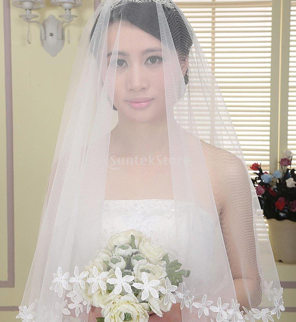 White Elbow Bridal Wedding Veil Without Comb Lace Applique Edge ...