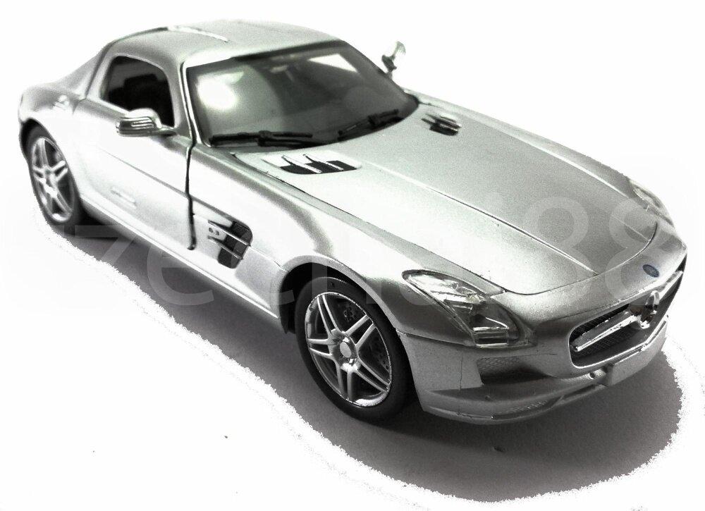 Newray 1 24 die cast mercedes benz sls amg car silver for Mercedes benz sls amg toy car