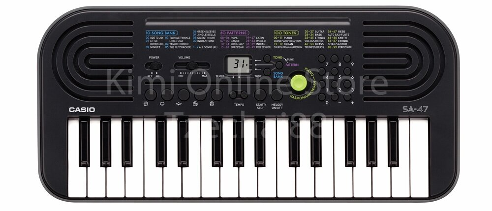 32 Key SA-47 Grey Mini Electronic Keyboard Piano Organ 2 Digit LCD Display 8 Note Polyphony 100 Tones 50 Patterns 10 Song One Touch Switch
