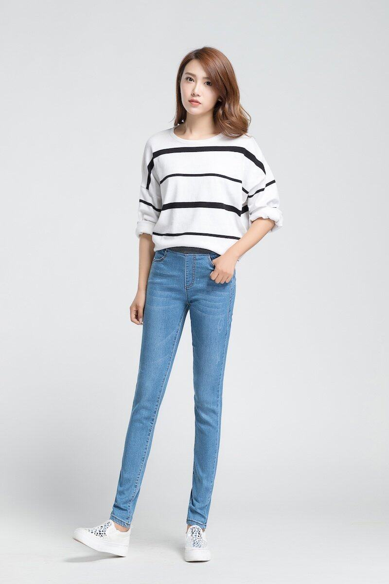 Korean Style Womenu2019s Clothing Korean Jeans Elastic Highwaist Jeans High Waist Jeans Long Pants ...