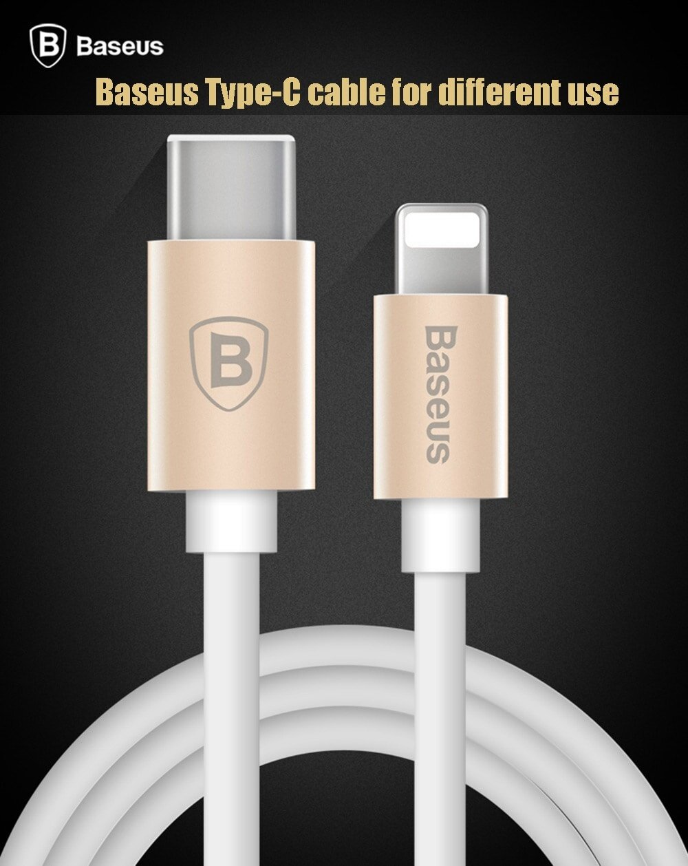 Baseus 1M Gather Series High Speed Type - C to 8 Pin Data Synchronization Charger Cord Cable