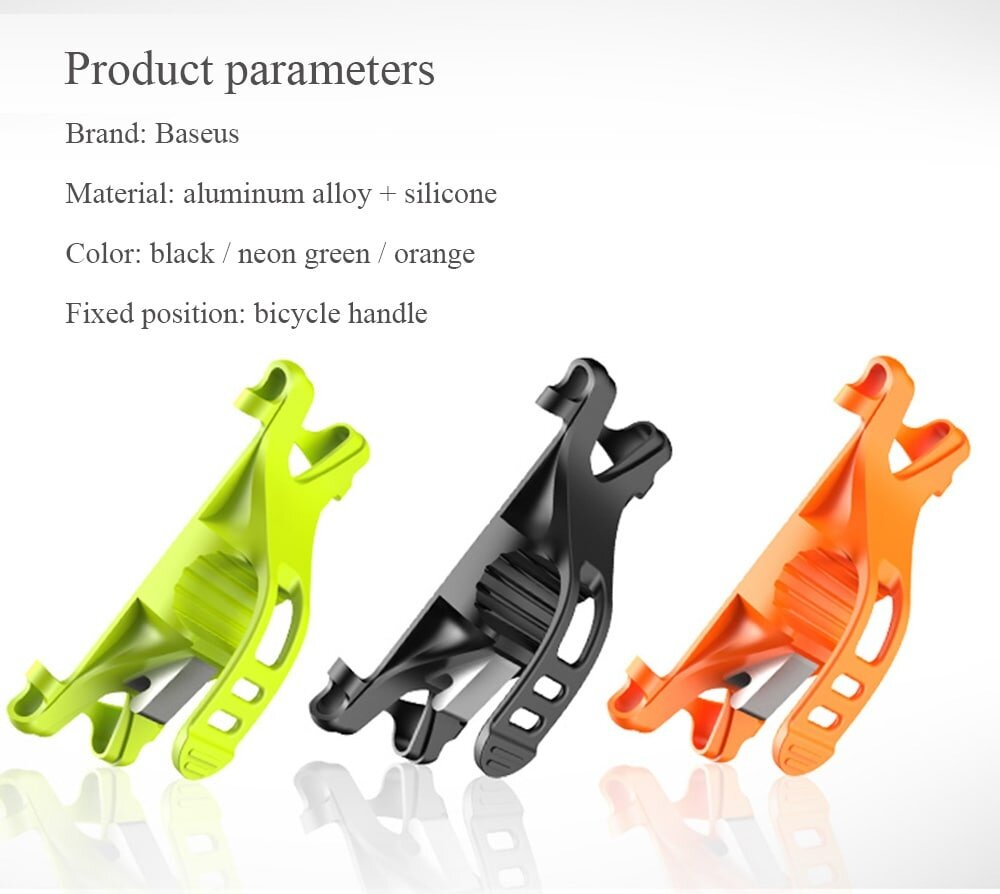 Baseus Miracle Bicycle Vehicle Mounts Phone Bracket Clip Holder Riding Navigation ( Aluminum Alloy + Silicone )