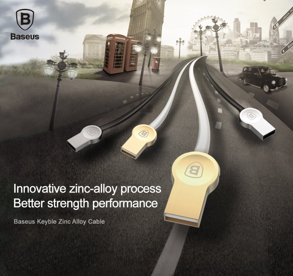 Baseus Keyble 2.0A 1m/3.3ft Type-C Zinc Alloy Cable For Samsung Xiaomi Huawei Meizu