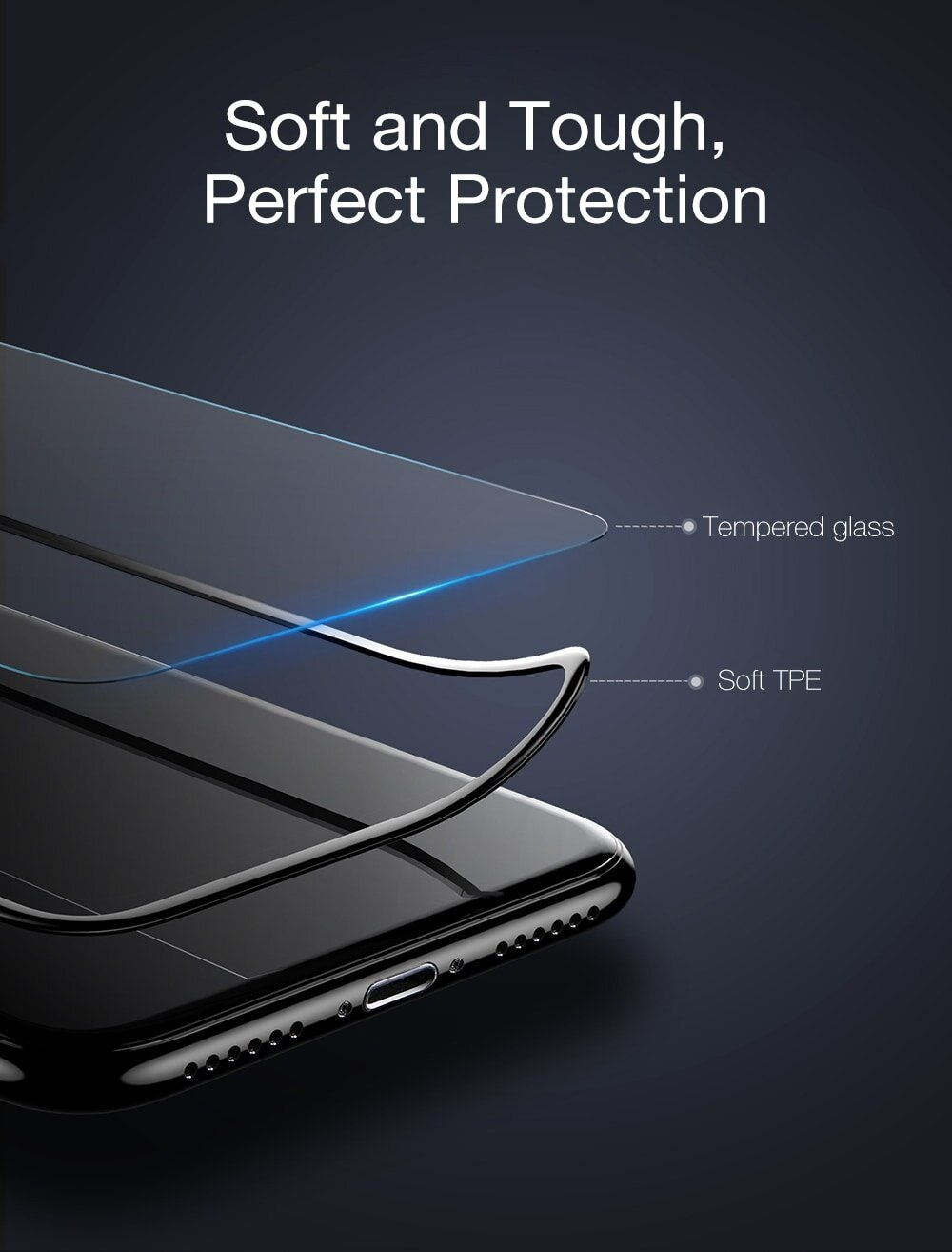 Baseus Silk-screen 3D Soft PET Edge Tempered Glass Film Shatterproof Screen Protector for iPhone X 0.23mm