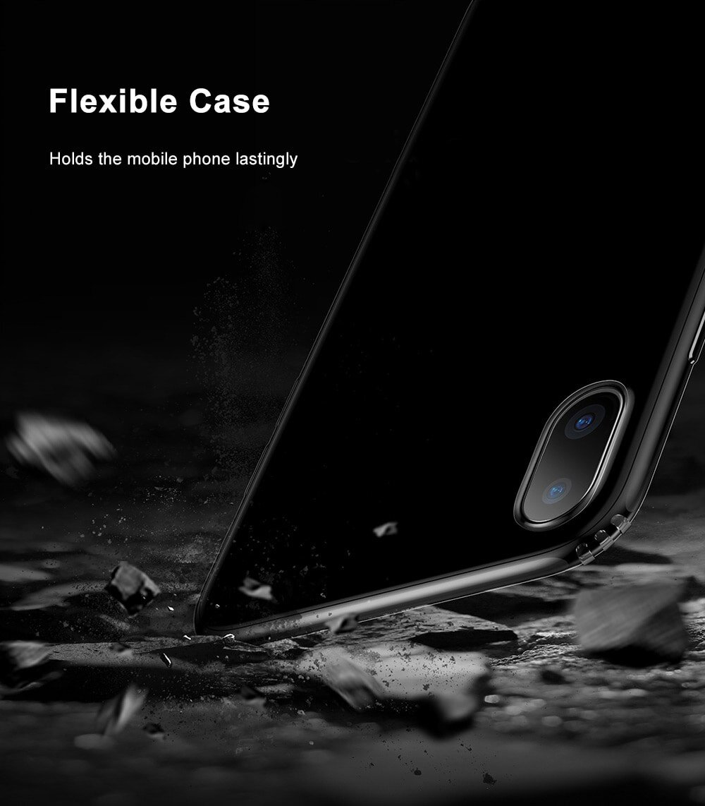 Baseus Simple Series (Anti-fall) Clear TPU Case Back Cover for iPhone X
