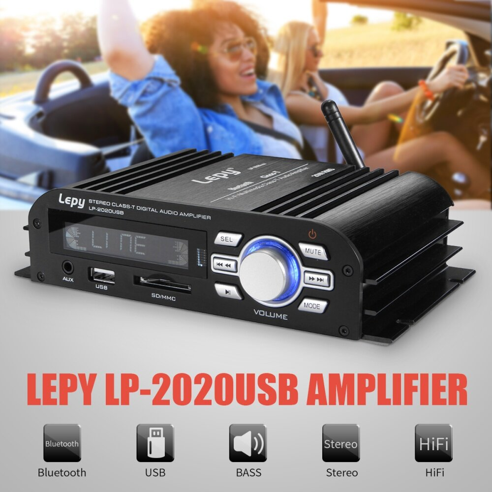 Buy Generic Lepy 2020 Hifi Usb Bluetooth 2 Ch Class T Amplifier Bass Audio Amplifiers From A To Image