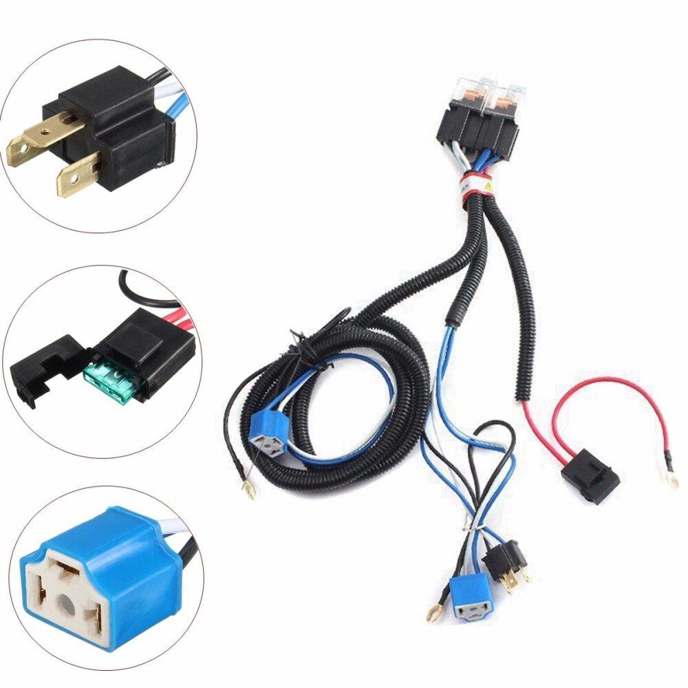 H4 Headlight 2 Headlamp Relay Wiring Harness Car Light Bulb Socket Ceramic Diagram A Set Of Plug