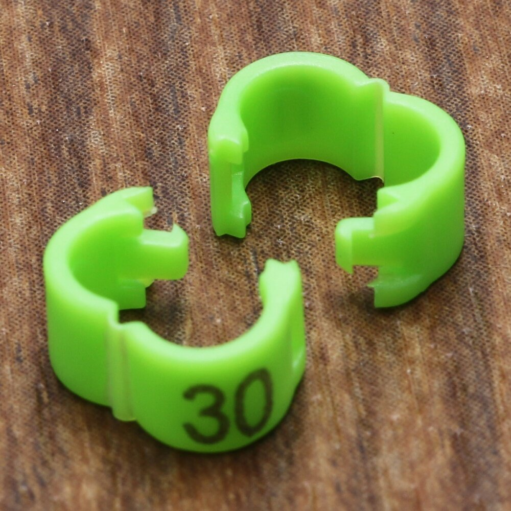 Universal 4mm 1-50 Numbered Clip Snap Bird Ring Leg Bands Parrot Finch  Canary Duck Grouped Green