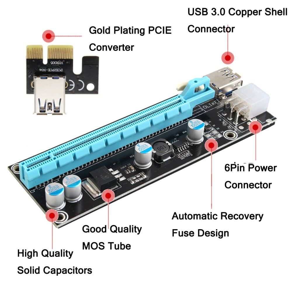 Buy Generic Usb 30 Pci E Express 1x To 16x Extender Riser Board Card 4 Solid Capacitor Image