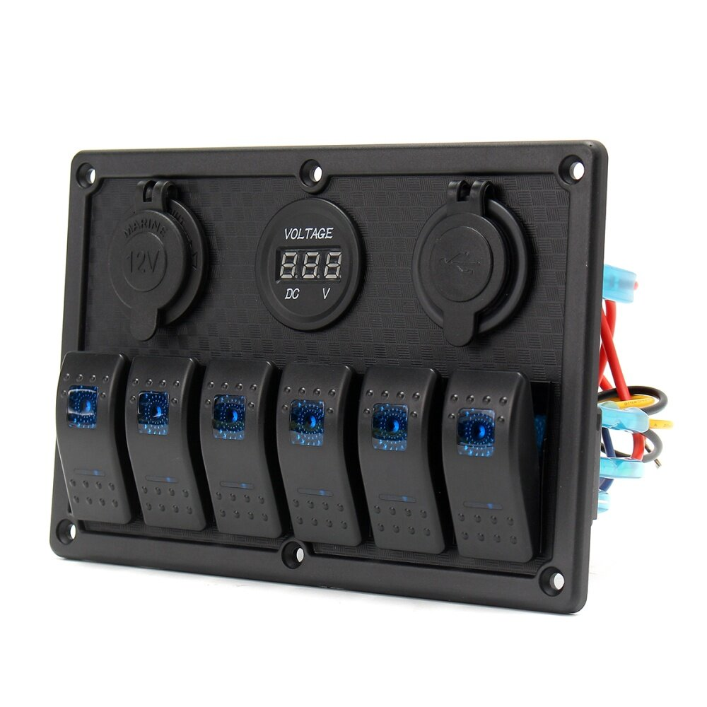 Buy Generic Led Switch Panel Dual Usb Waterproof Power Socket Blue How To Wire The System By Using A High Designed 6 Gang Rocker Charger Voltmeter Made Of Quality Aluminum Easy Installation With Rubber Seal Cap Keep It