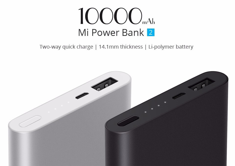 Original Xiaomi Power Bank 2 10000mAh Quick Charge 2.0 Portable Charger