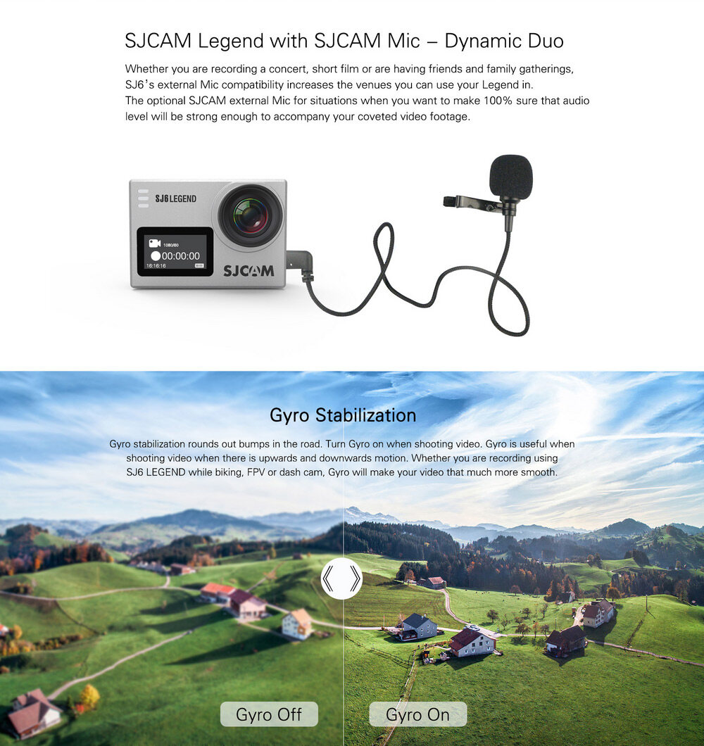 Original SJCAM SJ6 LEGEND 4K WiFi Action Camera Dual Screen Novatek  NTK96660 Chipset 166 Degree FOV