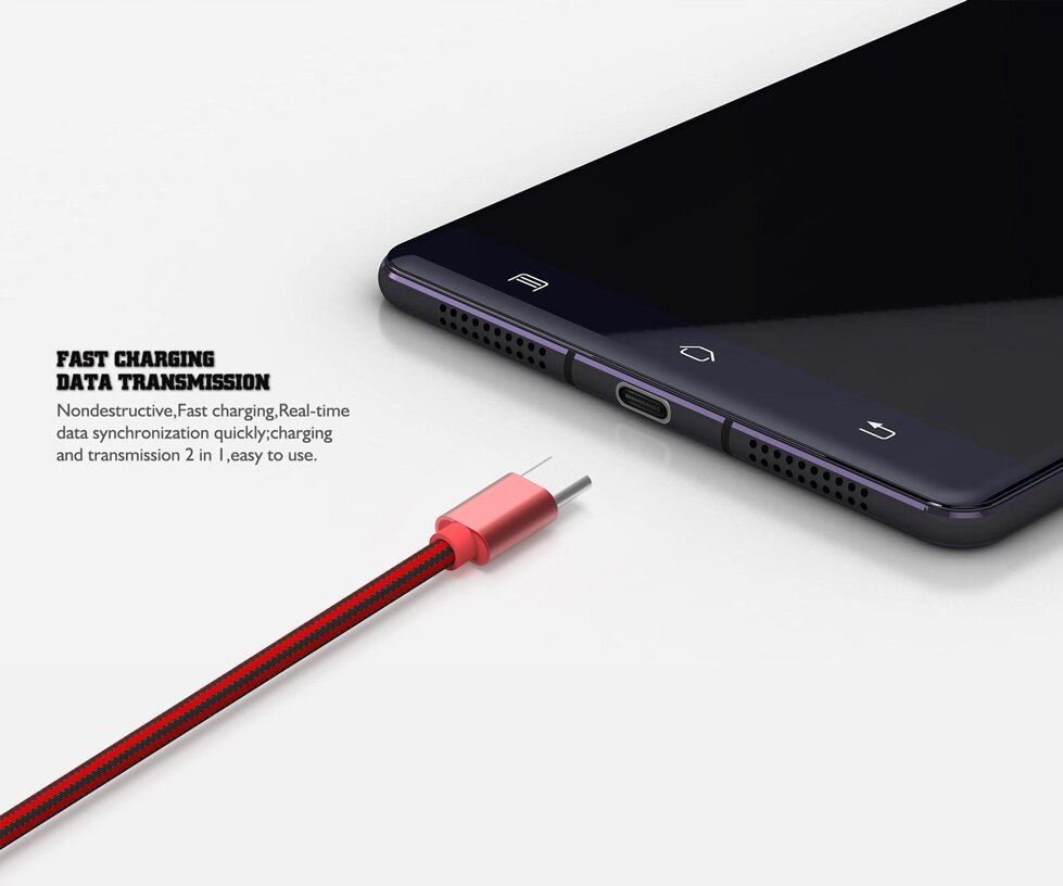 LDNIO LS60 1M 2.4A USB Type-C Braided Charging Data Cable for Xiaomi 6 Zuk z2