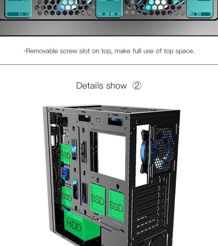 aigo Black Technology Full Transparent Computer Gaming Case USB 3.0