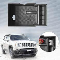 Faflbhj Belle Pusat Mobil Palet Penyimpanan Wadah Kotak Pada Tangan Kursi Mobil Cocok untuk Jeep Renegade Hitam